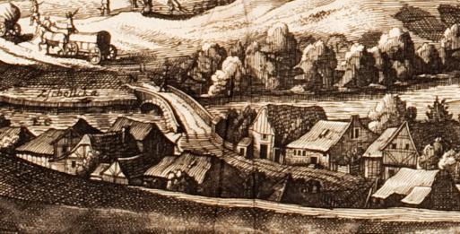 """Im Heft Abb. 7: Ausschnitt aus Cornelis Danckaerts """"Historis oft waerachtich"""" von 1642. Die Gegend von Zschölkau (Zschollcka) ist stilisiert dargestellt. Deutlich wird die Grösse und (militärische) Bedeutung des Lobers."""