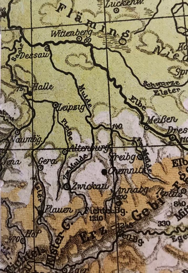 Nicht ins Heft gelangt: Ein ganz hilfreicher Kartenausschnitt, der die Gestalt der Leipziger Tieflandsbucht gut erkennen lässt.