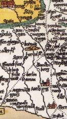 Im Heft Abb 3: Romweg-Karte der Erhard Etzlaub von 1500. Oben links Prag, unten rechts Rostock. Die Punktlinie ist die Via Imperii. Der Abstand zwischen zwei Punkten: 1 deutsche Meile = 7.4 km